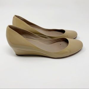 SALE Cole Haan Nude Leather Wedge Heels